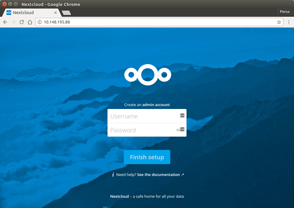Nextcloud Login screen